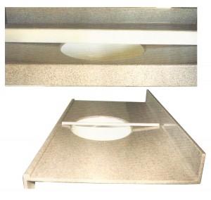 Side Views of Self-Draining countertops using straightedge